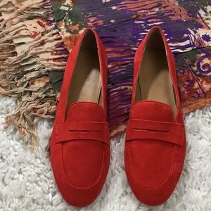 J. Crew suede Charlie penny loafers, red,8